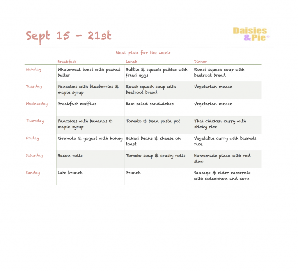 Printable family meal plan, autumn meal plan, easy family meal ideas, homekeeping UK, home organisation, Daisies & Pie, daisies and pie