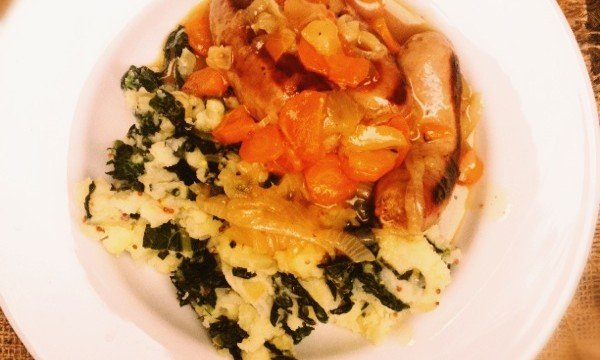 sausage and cider casserole, sausage casserole, things to make with sausages, easy family food, family meal idea, colcannon recipe, things to make with cavolo nero, Booths sausages with Scrumpy cider, autumn food, autumn meal ideas, Daisies and Pie