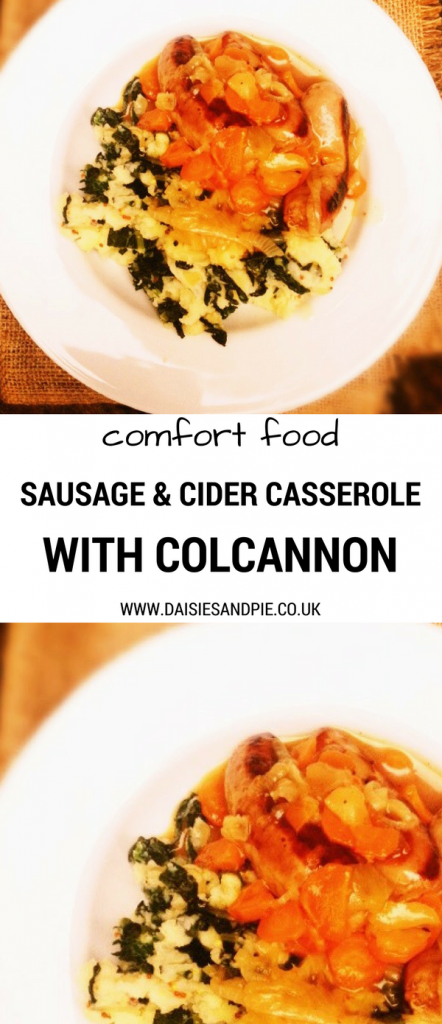 Homemade family dinner is easy with this delicious sausage and cider casserole served with a heap of colcannon