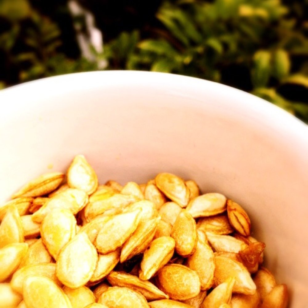 bowl of homemade spiced squash seeds