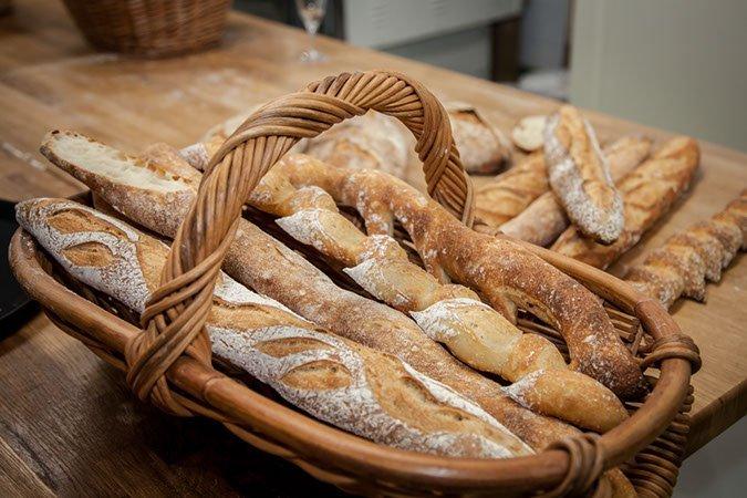 Farnely Market Bakehouse bread, Farnley Bakehouse artisan bread, basket of artisan bread, Yorkshire bread, Huddersfield artisan bakers, daisies and pie