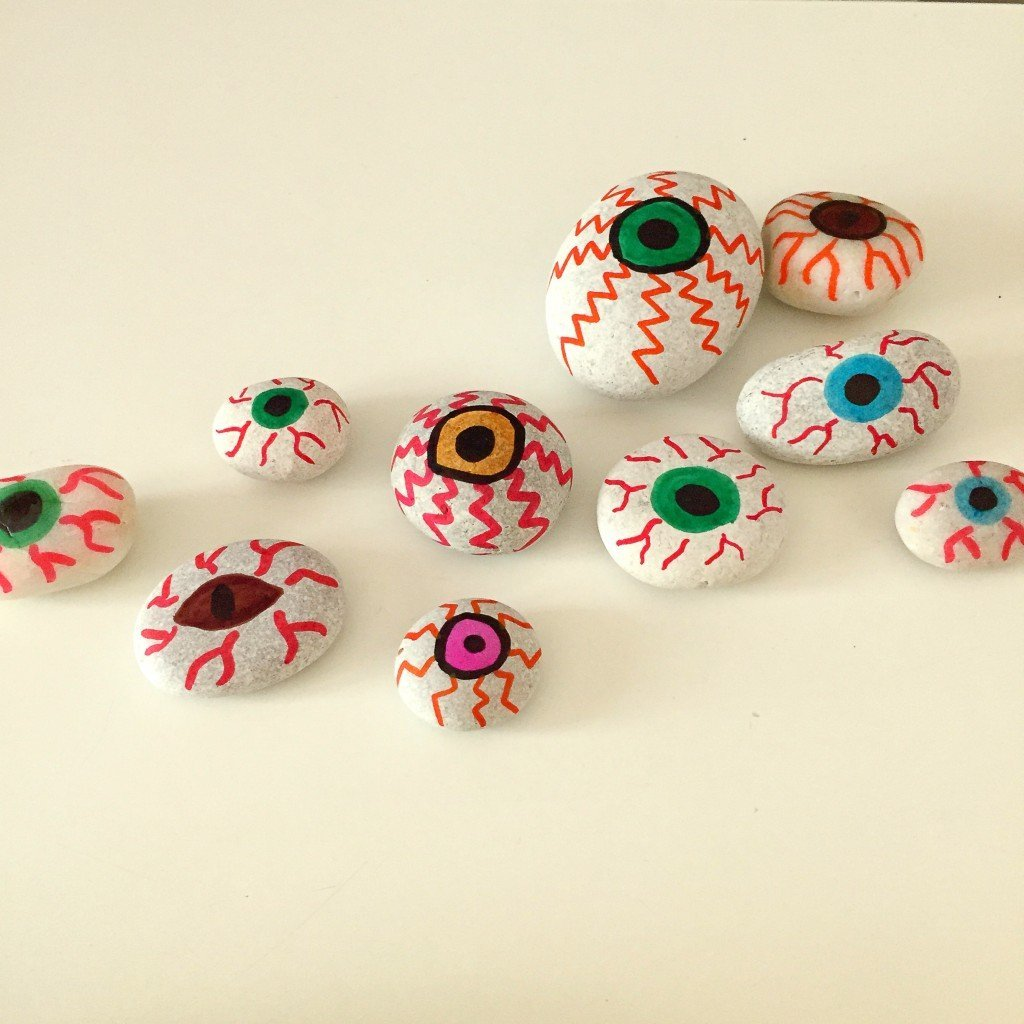 Painted Stones Eyeballs For Halloween Daisies amp Pie