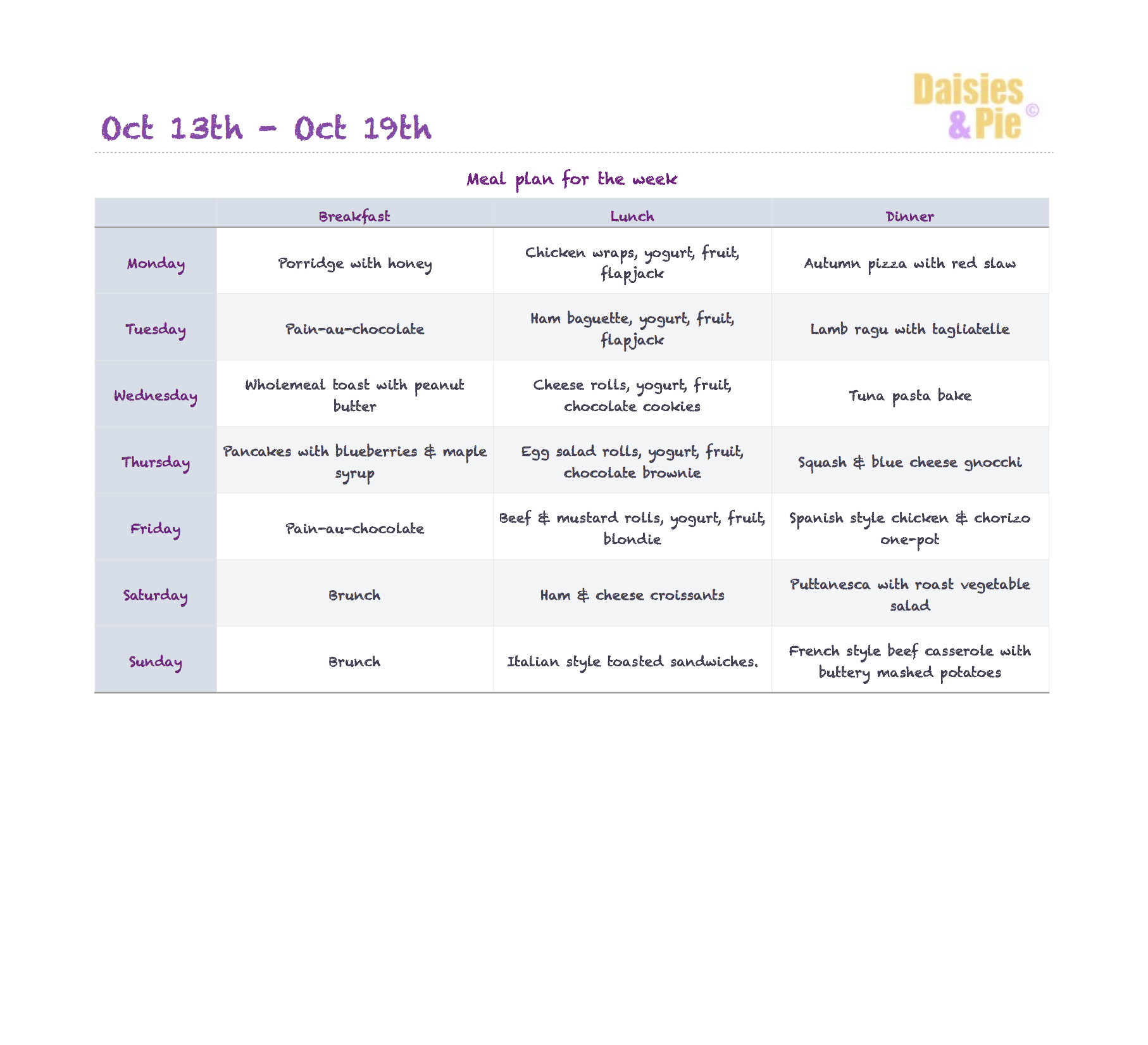 family meal plan, autumn meal plan, ideas for autumn recipes, easy meal planning tips, meal planning ideas, how to meal plan for a family, meal planning recipes, printable meal plan, daisies and pie