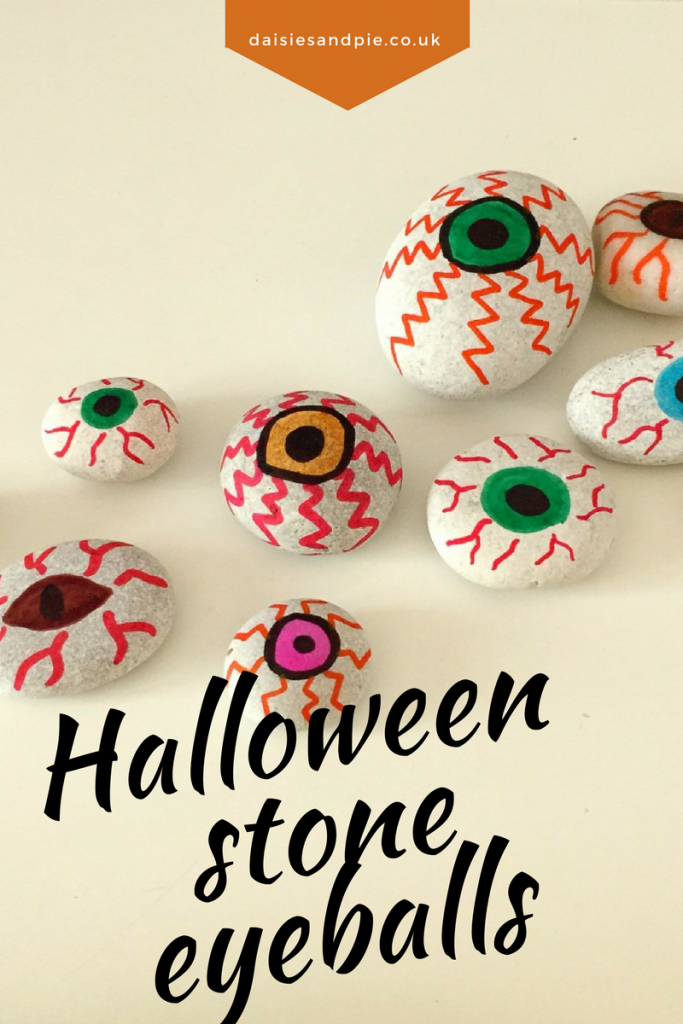 Halloween eyeball decoration for kids to make, kids halloween crafts, stone painting ideas