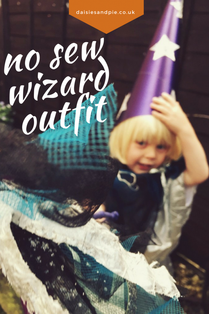 No sew wizard outfit for Halloween, no sew Halloween costumes, easy Halloween costumed tutorial