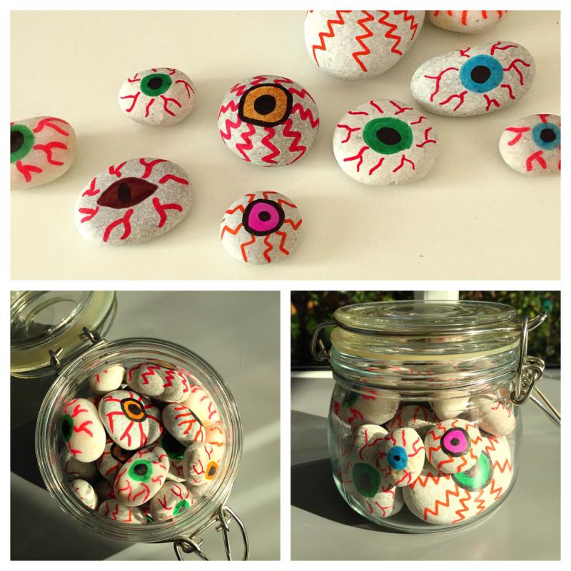 painted eyeballs for Halloween, halloween crafts for kids, spooky halloween crafts, spooky kids activities, rock painting, pebble painting, painted pebbles for Halloween