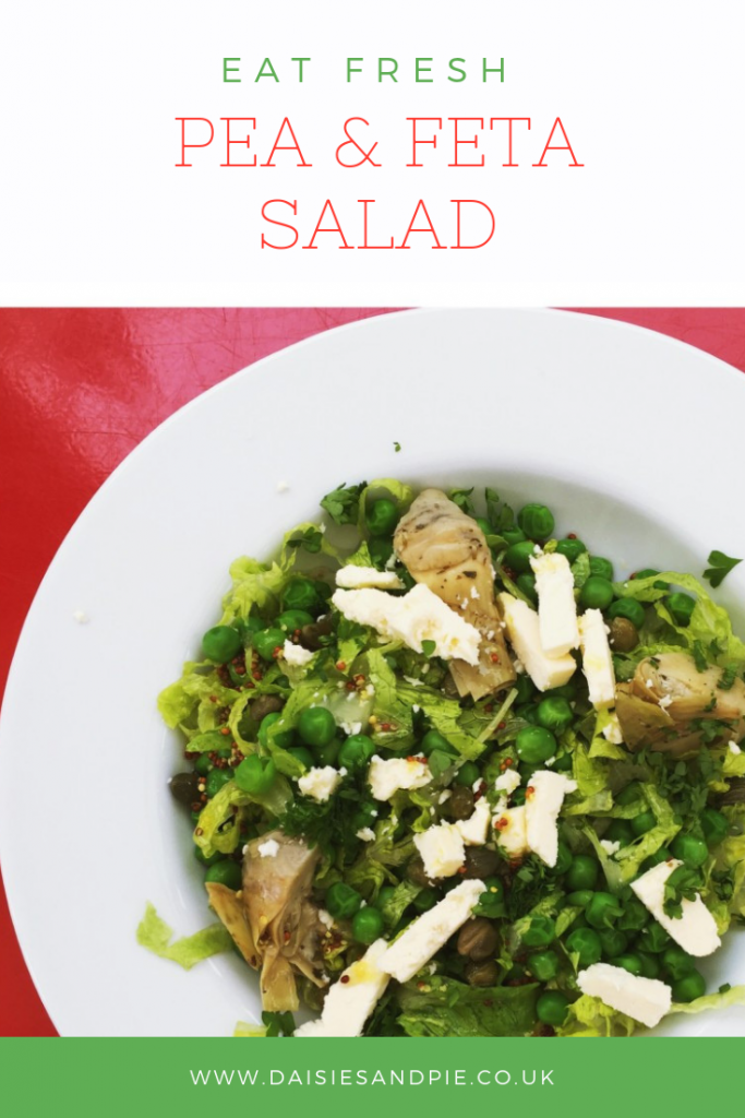 """plateful of pea and feta salad with artichokes and a lemon and mustard dressing. Text overlay  saying """"eat fresh - pea and feta salad"""""""