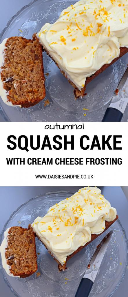 Autumnal squash cake with orangey cream cheese frosting, delicious autumn cake recipe, easy family food