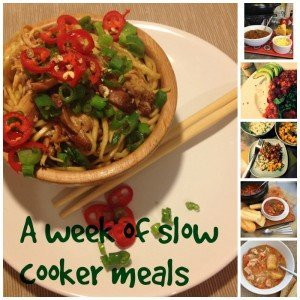 a week of slow cooker meals, easy family crock pot recipes, slow cooker chicken noodles, slow cooker vegetable biriyani, slow cooker vegetarian chilli, slow cooker chicken casserole, slow cooker BBQ beef and beans, easy family food from Daisies and Pie