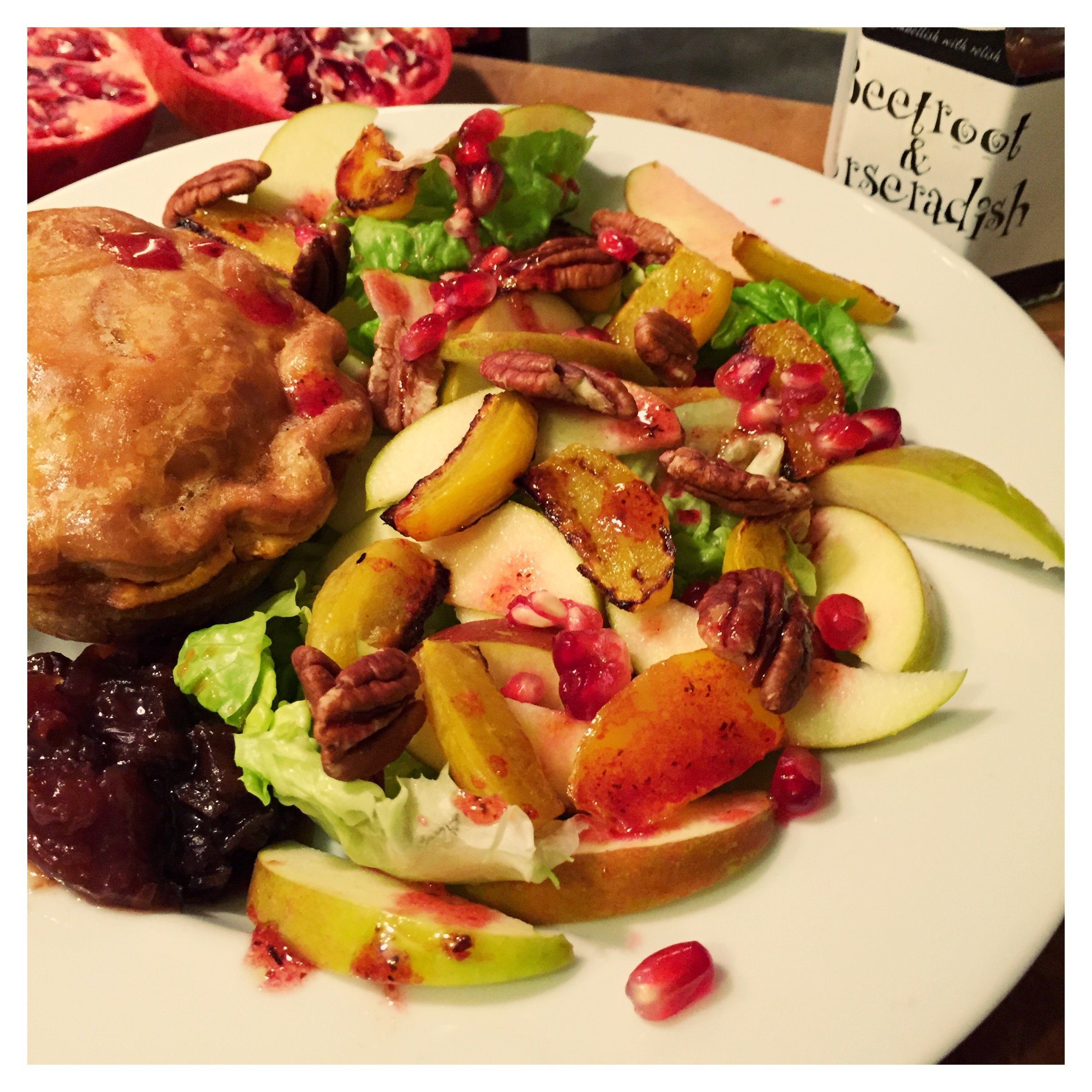Autumn salad with apples and roast beetroot