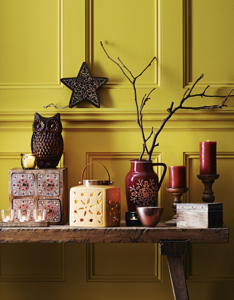 folk accessories from Sainsbury's, mustard yellow ceramic lantern, add a splash of mustard and teal, homestyle from daisies and pie