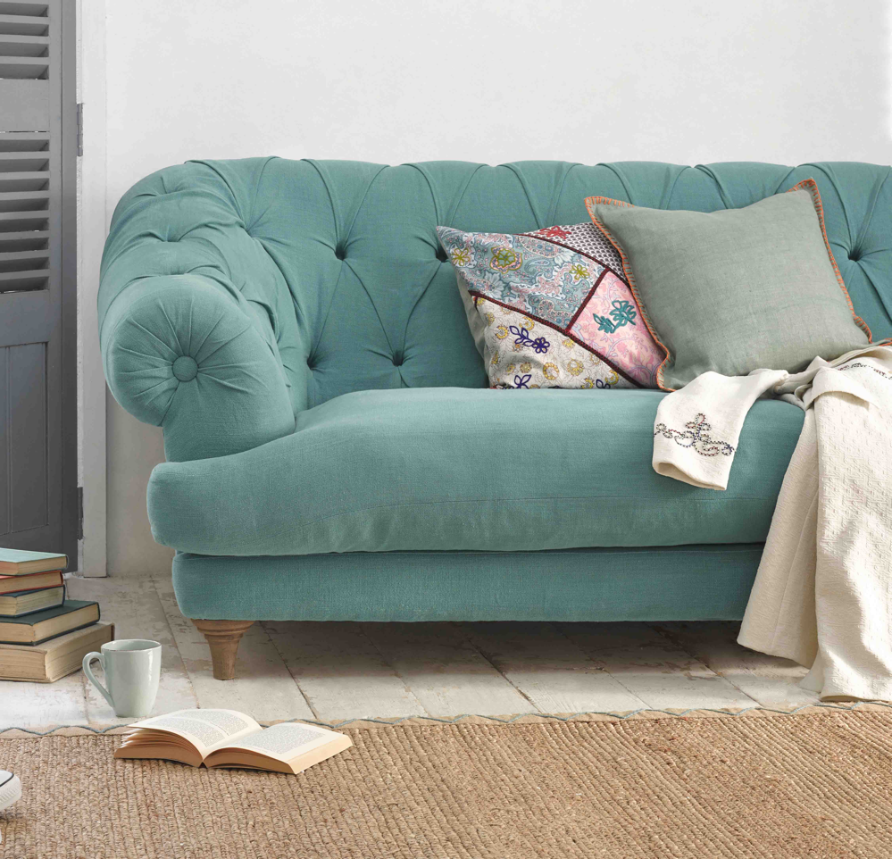 Loaf Bagsie sofa, teal interiors, winter interiors 2014, add a splash of mustard and teal, home style from daisies and pie