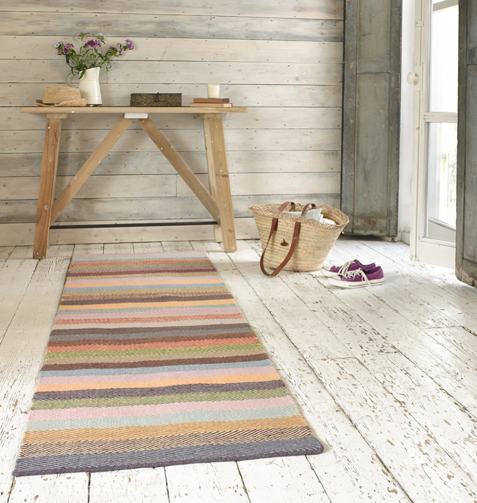 Loaf Tuppence runner, rainbow striped floor runner, winter 2014 interiors, add a splash of mustard and teal, home style from Daisies and Pie