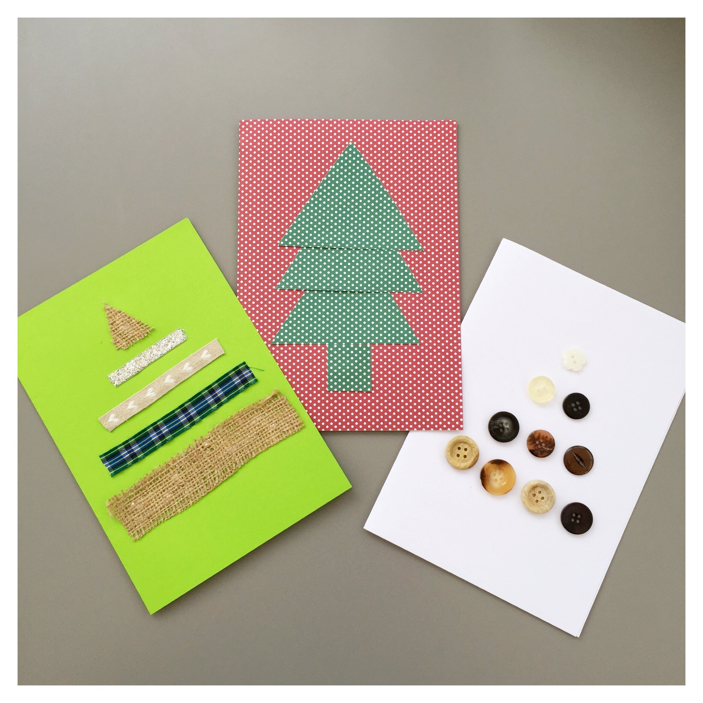 easy homemade christmas cards kids have made in shop of Christmas tree one made from buttons, one from ribbons and one from spotted paper