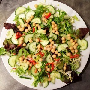 spicy chickpea salad, quick work night meal, things to make with chickpeas, salad side dish, easy family food from Daisies and pie