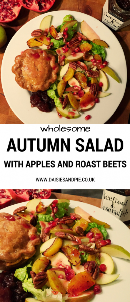 Wholesome Autumn salad with apples and roast beets, delicious healthy autumn recipes, easy family dinner