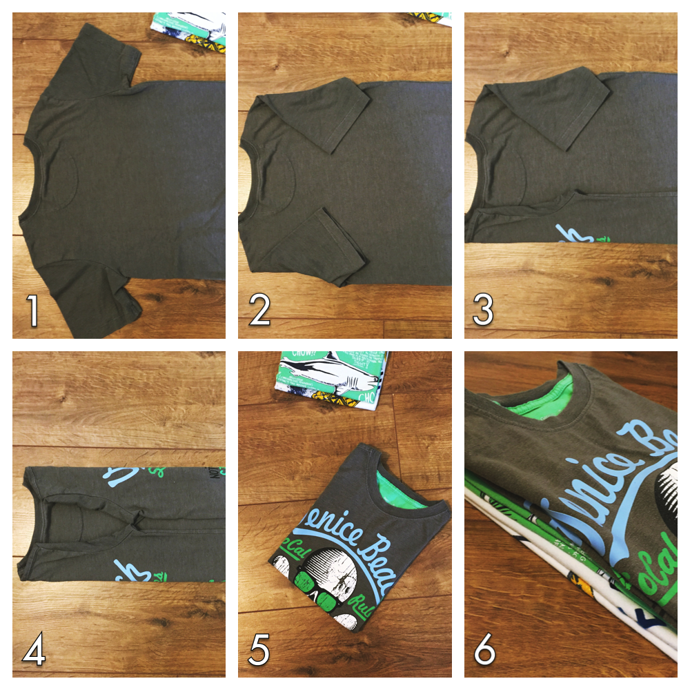 step by step instructions for how to fold t shirts