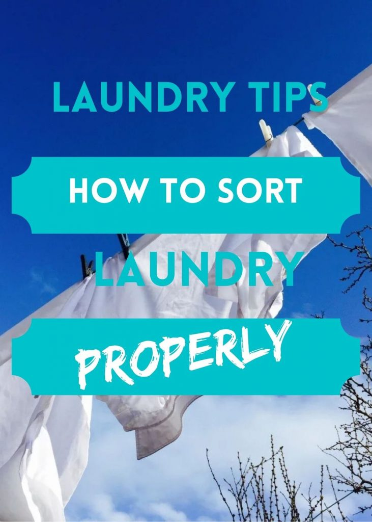 """white shirts drying on a washing line. Text overlay reads """"how to sort laundry properly"""""""