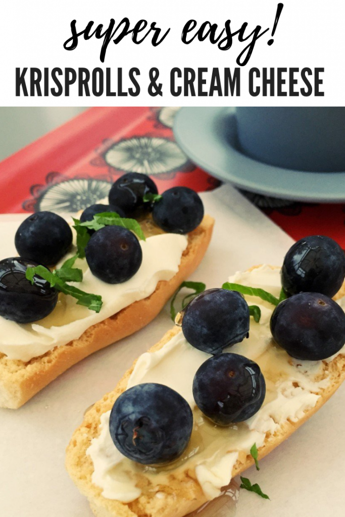 """Swedish krisprolls topped with cream cheese, blueberries, honey and mint leaves served with coffee. Text overlay reads """"super easy krisprolls and cream cheese"""""""