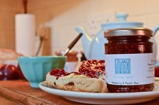 raspberry and peach jam from grab your spoon, hand made artisan jam , Liverpool preserves, meet the producers on Daisies and Pie