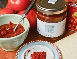 red chutney from grab your spoon, Liverpool local preserve maker, meet the producers on Daisies and Pie