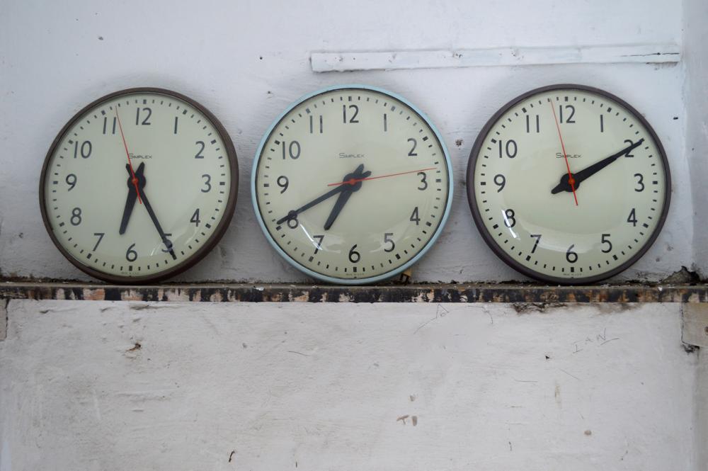 Old school clocks, retro school clocks from Pedlars, home office accessories