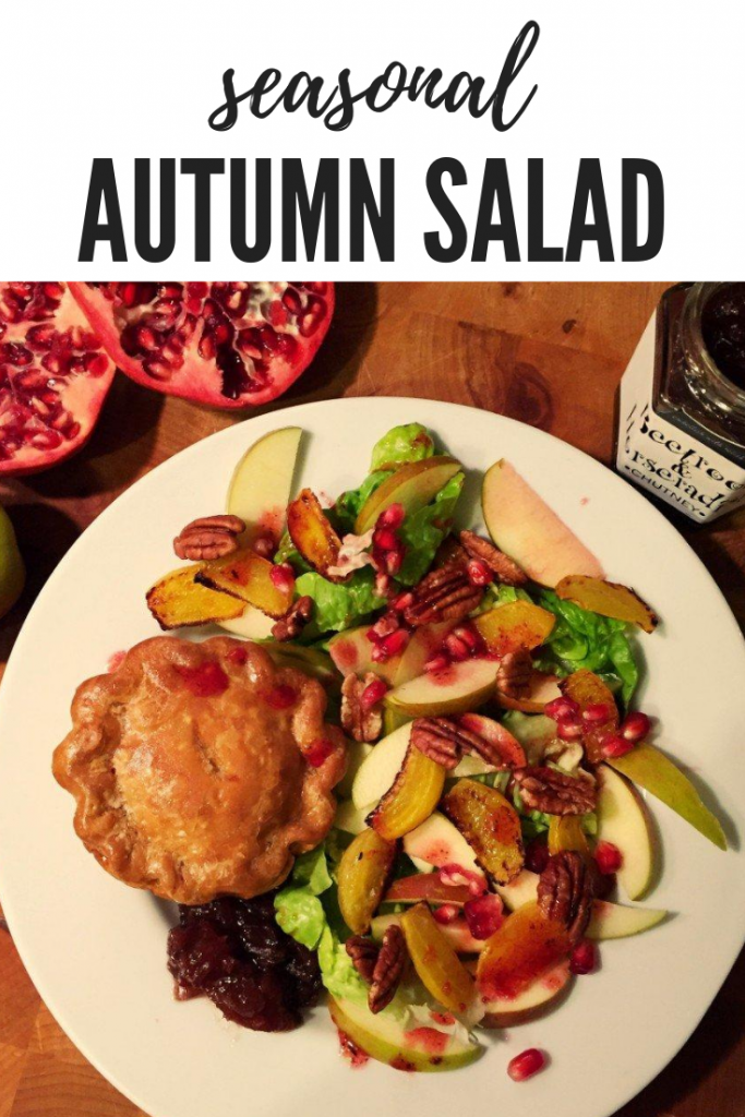 """autumn salad with apple and beetroots served with chutney and a pork pie. Text overlay """"seasonal autumn salad"""""""