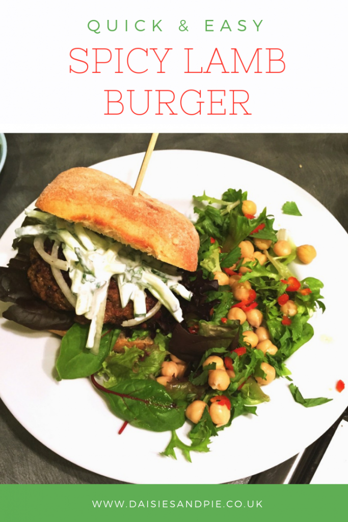 "spicy lamb burger with cucumber raita and spicy chickpea salad. Text overlay saying "" quick and easy spicy lamb burger"""