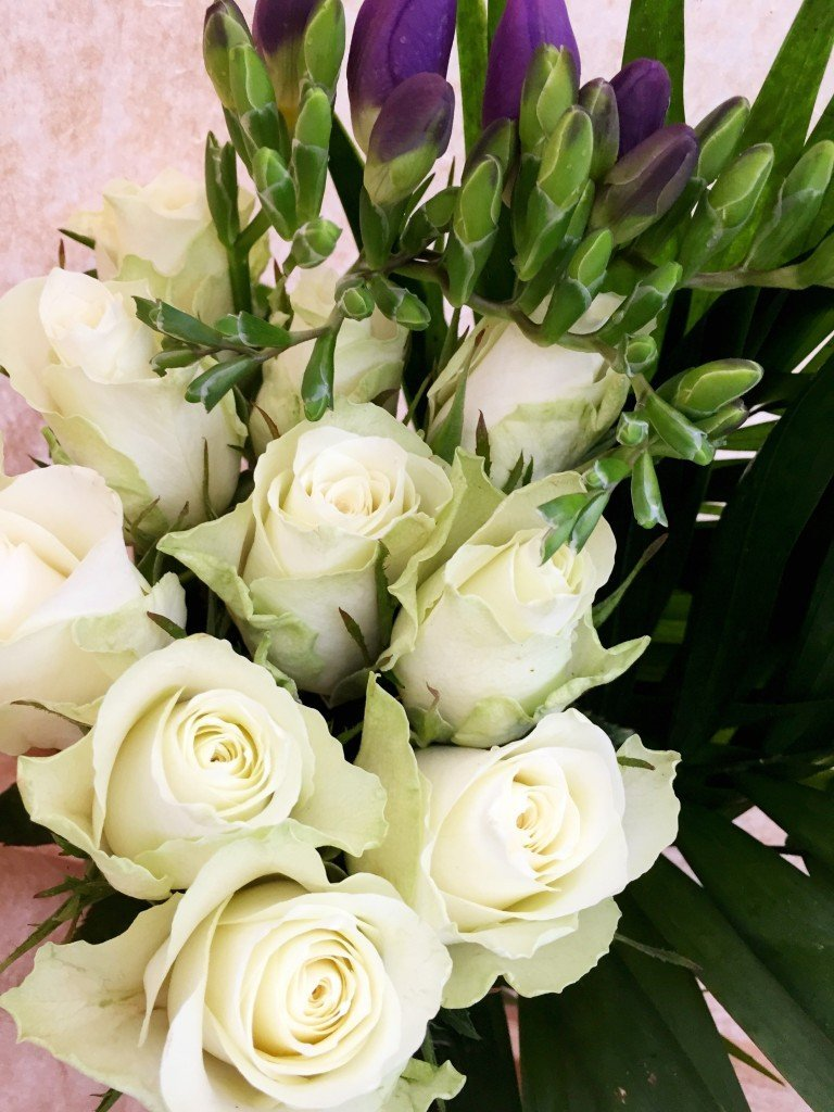 Serenata flowers, twilight bouquet, white roses, blue moon freesia, winter bouquet, online flower delivery