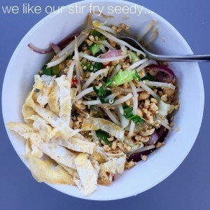 quick stir fry with seeds recipe, stir fry with peanuts and seeds, easy midweek meals, quick vegetarian dinner, easy family food from Daisies and Pie