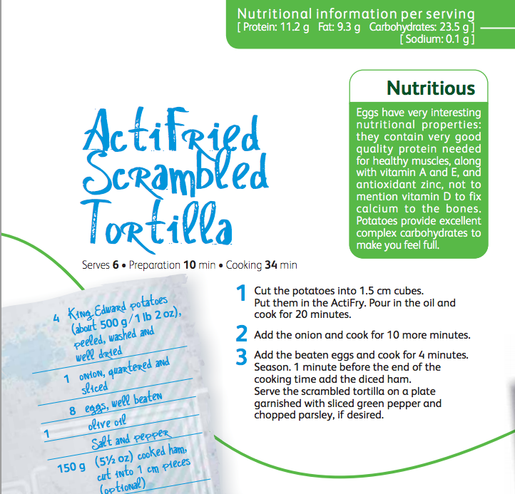actifried scrambled tortilla recipe, tasty crisp potatoes cooked with onions and scrambled eggs, easy family food from daisies and pie