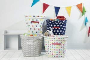 canvas storage tubs from Great Little Trading Company, how to make a clutter basket, homekeeping from daisies and pie