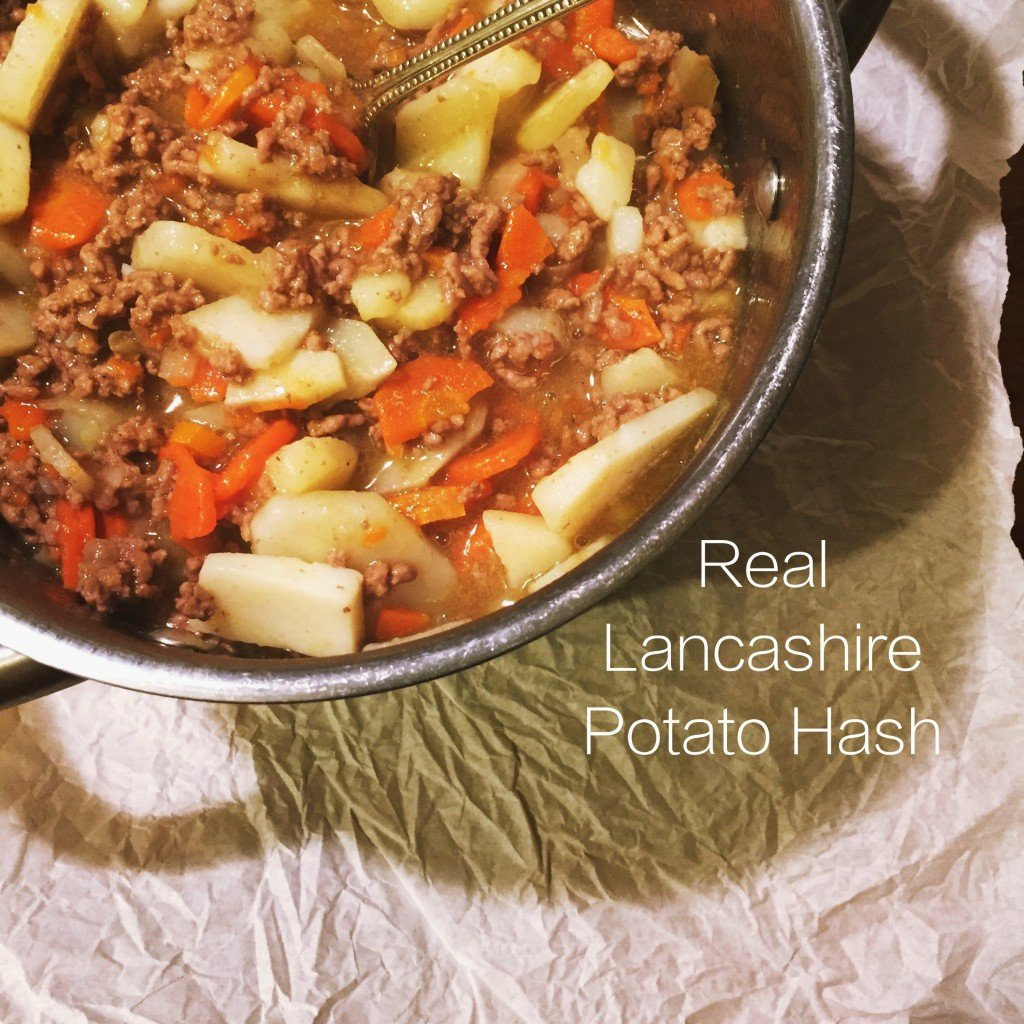 "panful of Lancashire Potato Hash - Text overlay saying ""real Lancashire Potato Hash"""