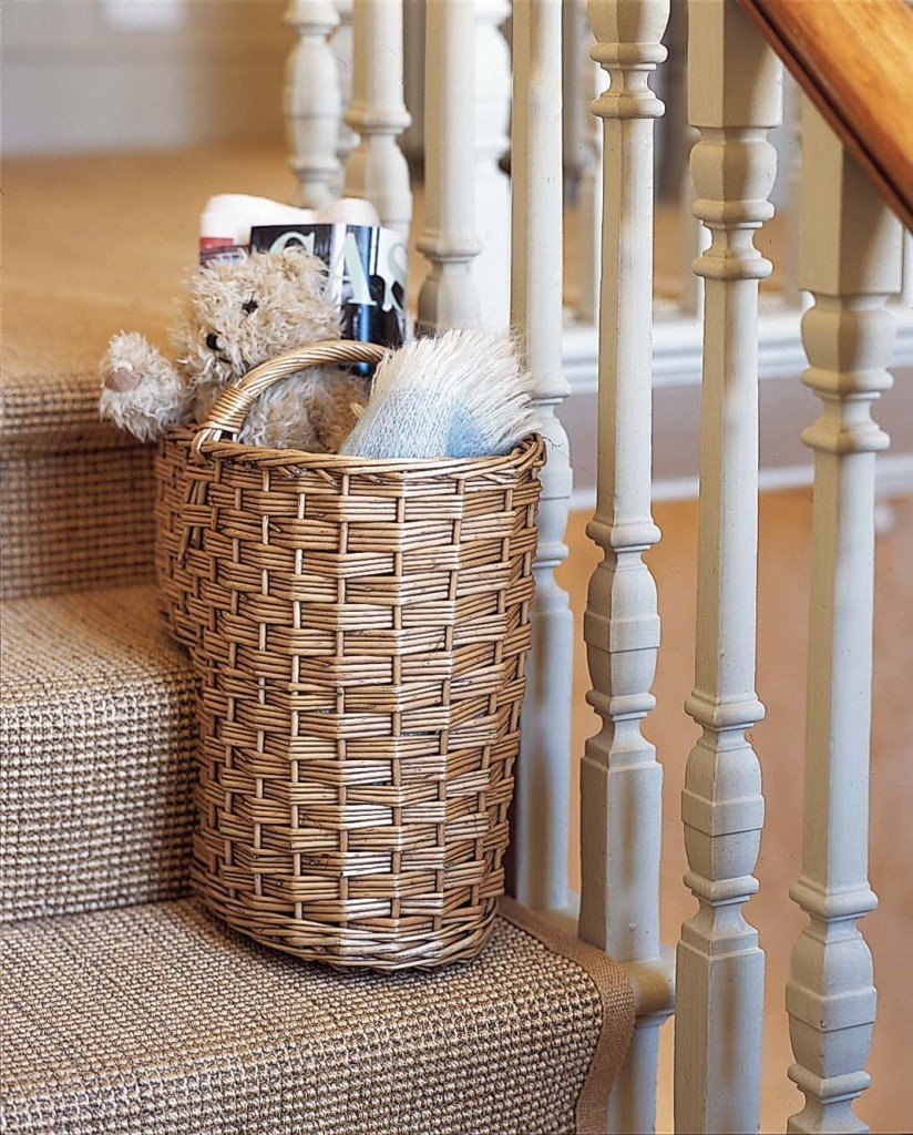 Rattan stair basket from the holding company, how to create a clutter basket, homekeeping from daisies and pie