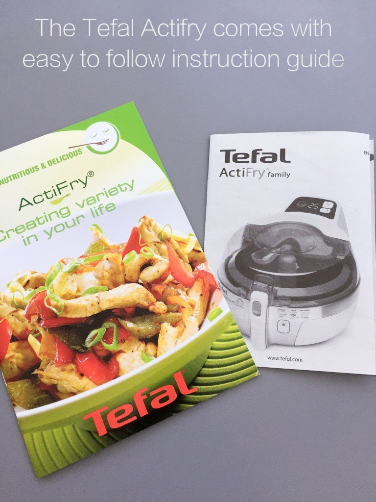 Tefal Actifry Family Review, Tefal Actifry instruction booklet, easy family food from daisies and pie