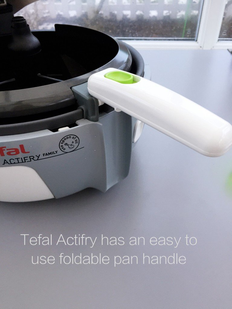 Tefal Actifry review, Tefal easy to use foldable pan handle, easy family food from daisies and pie