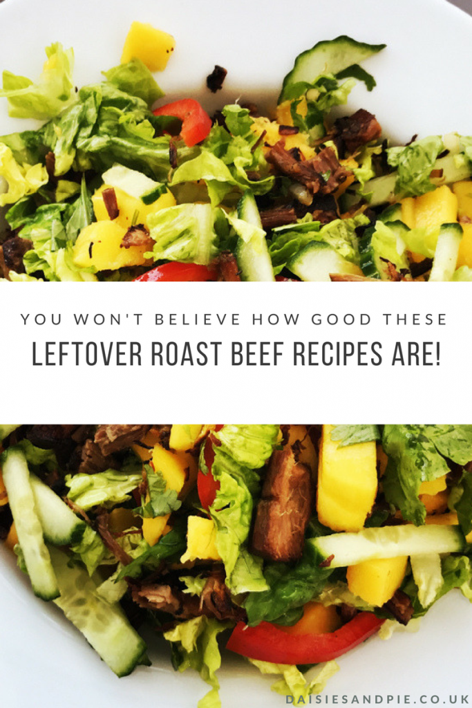 "white plate piled high with salad with little gem, cucumber, red peppers, mango and honey fried leftover roast beef. Text overlay saying ""you won't believe how good these leftover roast beef recipes are"""