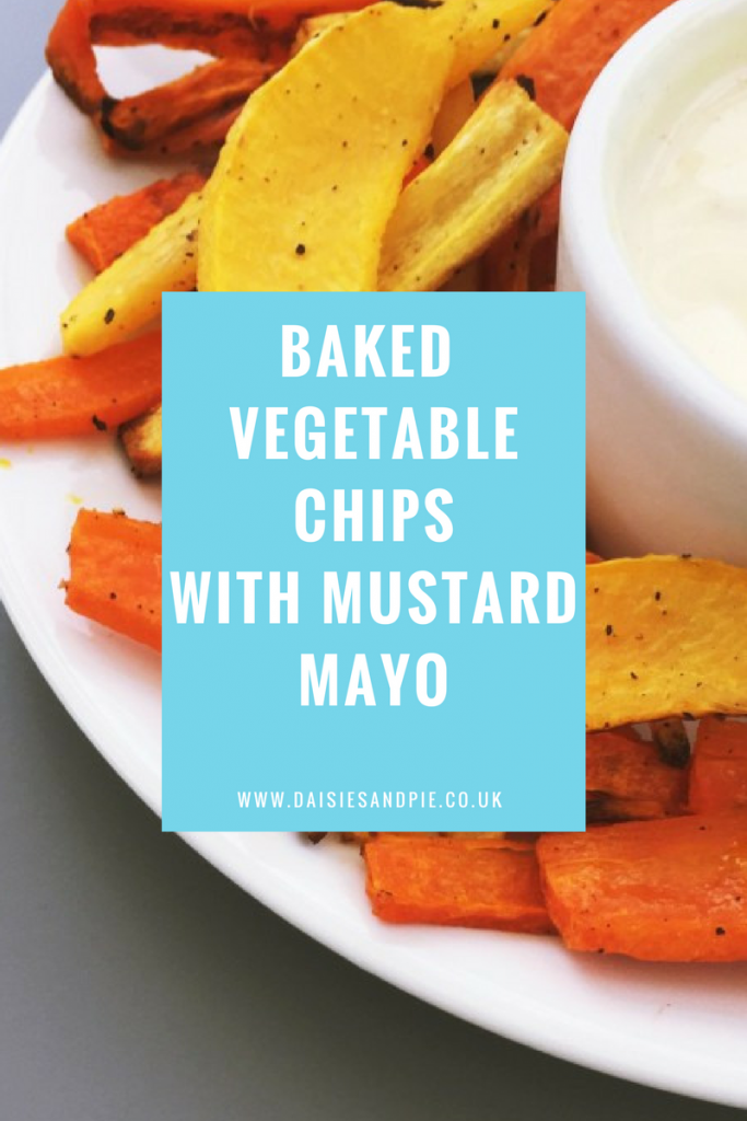 Baked vegetable chips with mustard mayonnaise, healthy snack ideas, vegetable side dishes