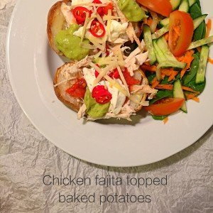 chicken fajita topped baked potato, recipes for leftover roast chicken, easy family food from daisies and pie