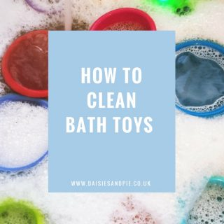 """Kids bath toy cups and turtle in a bowl of soapy water with tap running into it. Text overlay saying """"how to clean bath toys"""""""