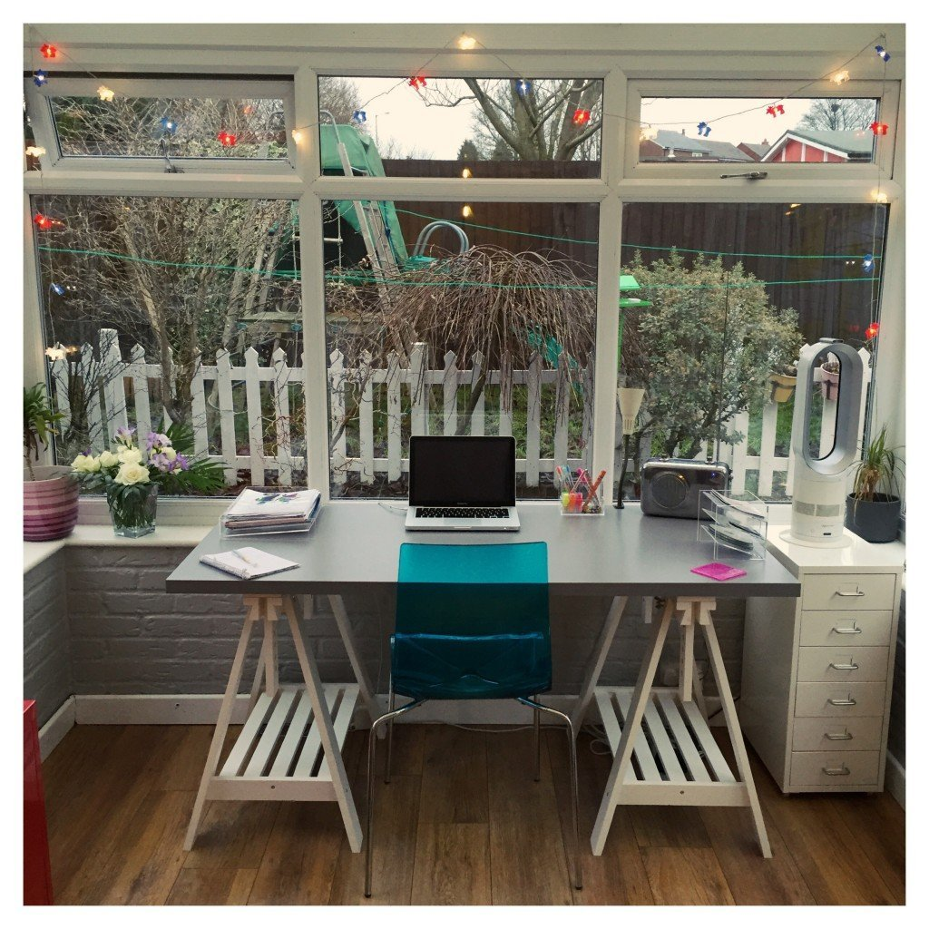fairy lights hung at the window, fairy lights to decorate home office, family home style, daisies and pie