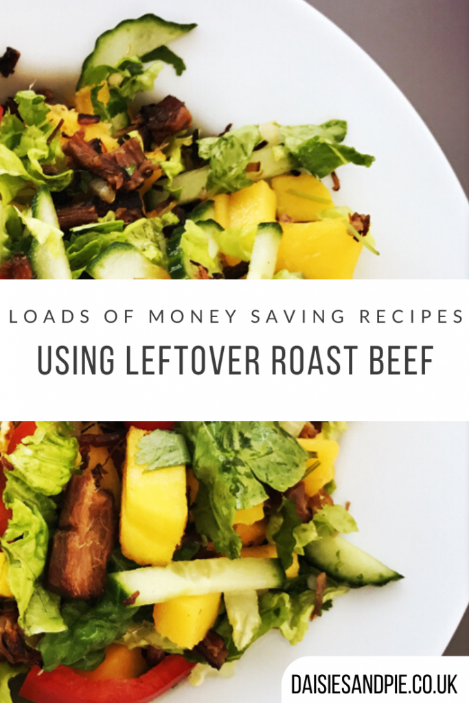 """homemade roast beef and mango salad made using leftover roast beef from the sunday roast. Text """"loads of money saving recipes using leftover roast beef"""""""