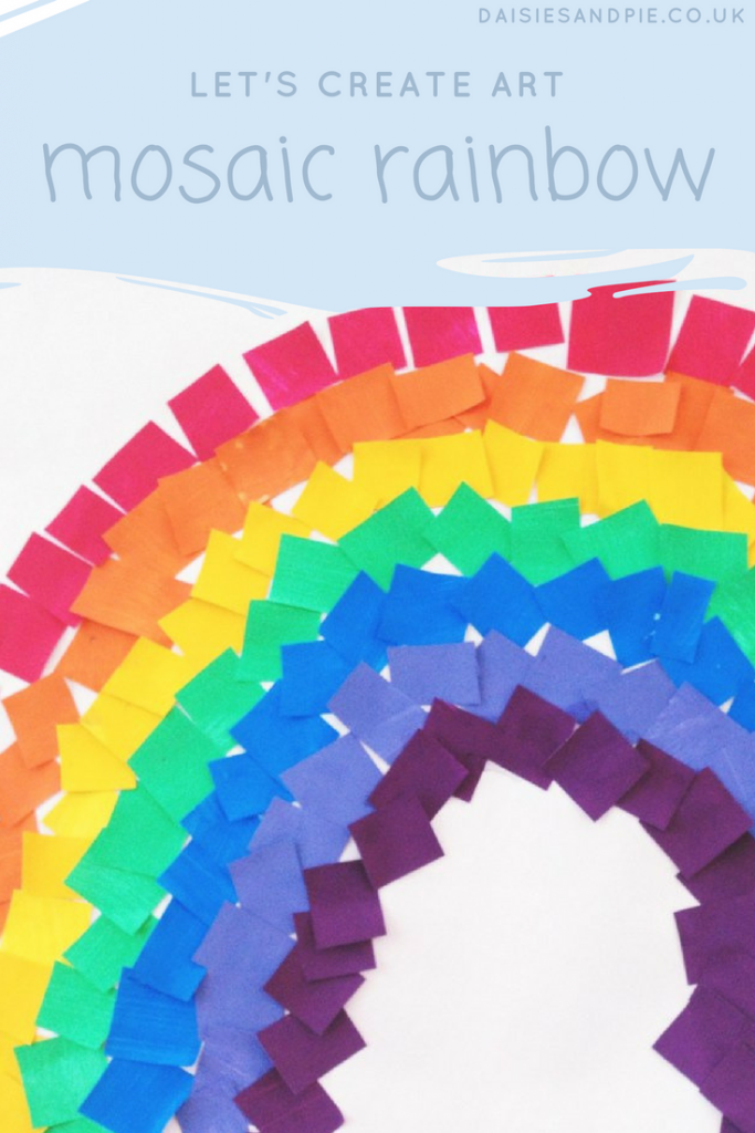 Create a gorgeous mosaic rainbow with this gorgeous art activity for kids, weather projects of kids, kids activities