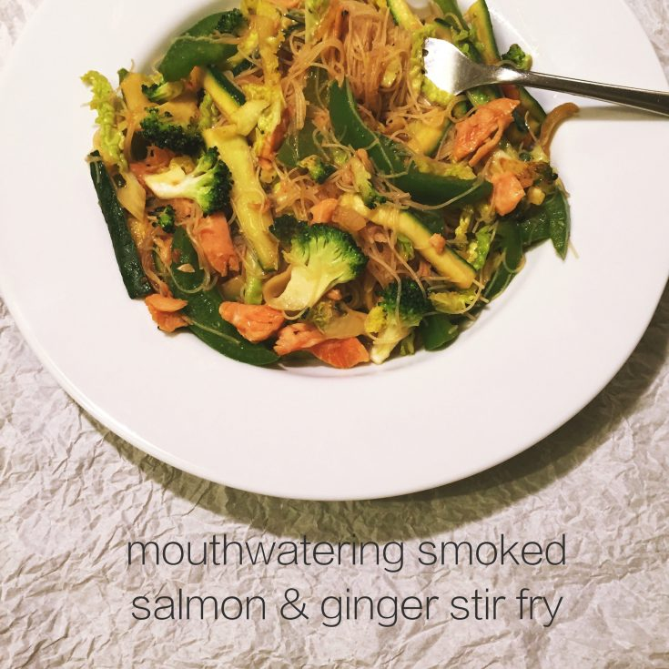 smoked salmon and ginger stir fry, quick midweek meal, healthy recipe, easy family food from daisies and pie