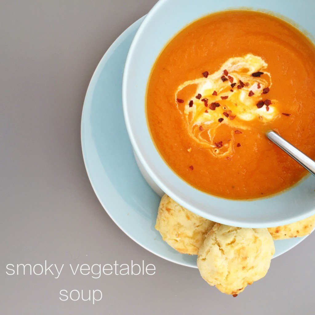 smoky vegetable soup, winter soup recipe, easy family food from daisies and pie