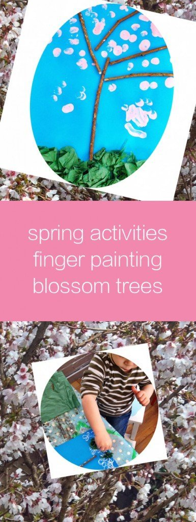 spring activities for kids, finger paint blossom trees, preschool art ideas for spring, kids activities from daisies and pie