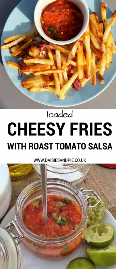 Oven baked fries loaded with cheese and herbs with an awesome homemade roast tomato salsa, tasty snack recipes, game day snack ideas