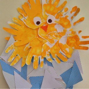 step by step instructions for making a handprint easter chick