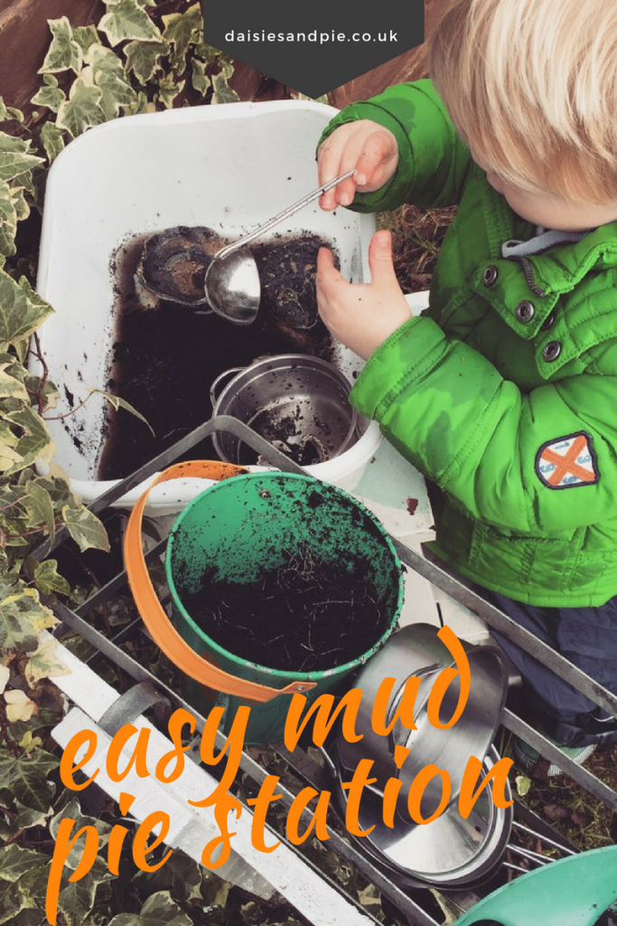 Really easy mud pie station for kids, garden play activities for kids, outdoor play for kids
