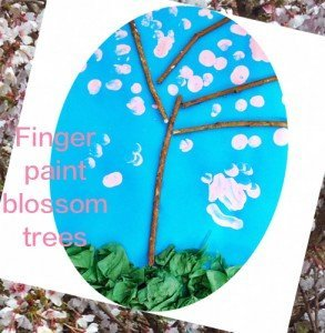 spring activities for kids, finger paint blossom trees, how to make finger paint blossom trees, preschool activities from daisies and pie